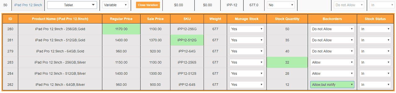 Woocommerce Product Stock Table